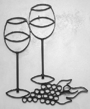 "Wine Glasses with Grapes Standard ( 13""w to 14""w x 19""h )"