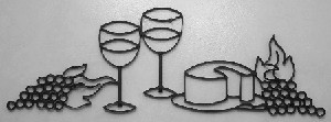 "Wine Glasses with Cheese Standard  ( 37""w    x   12""h )"