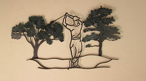 "Golf Scene 1 Oak Trees ( 32""w x 19""h )"