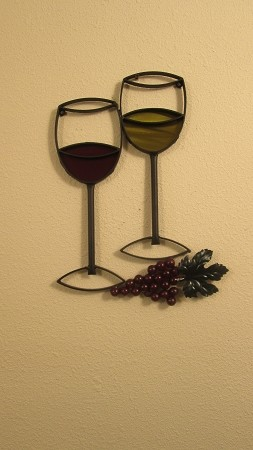 "Wine Glasses With Grapes Full Colors ( 14"" w    x    19"" h )"